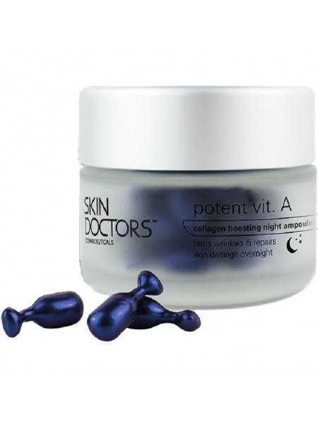 Скин Докторс Сыворотка для лица ночная концентрированная POTENT VIT. A увеличивающая коллаген для более упругой и гладкой кожи 50 капсул (Skin Doctors Potent Vit. A)